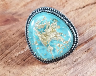 Resin Cast Gold Leaf Antiqued Silver Pin! ~Glamour Witch, Fashion, Mystic