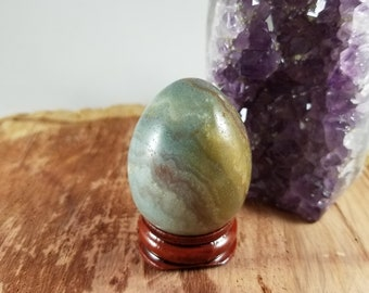 STUNNING Multicolor, Banded Amazonite Yoni Egg w/ Stand! ~Yogi, Meditation, Witch, Mystic, Sacred Sex