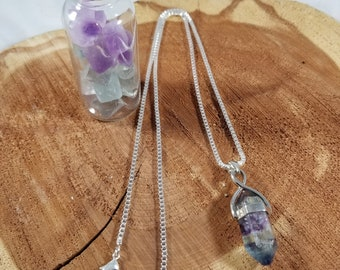 Rainbow Fluorite Pendant w/ 22 inch Stamped .923 Silver Chain & Altar Vial! ~Witch, Mystic,