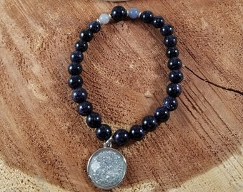 The Night Sky Mala: Blue Goldstone, Blue Aventurine, Silver Moon Charm! ~Witch, Boho, Mystic