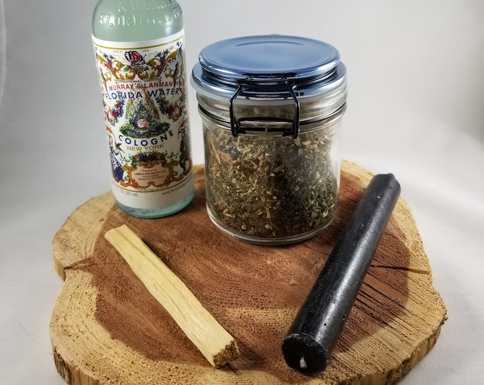 Featured listing image: Protect Thyself Kit: Protection Witches Bottle w/ 6 inch Black Taper Candle, Palo Santo Stick & Florida Water! ~Ritual, Magick, Mystic
