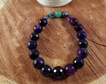 Faceted Amethyst, Turquoise and Purple Dyed Agate & Green Aventurine Mala Bracelet! ~Witch, Yogi, Meditation, Mystic