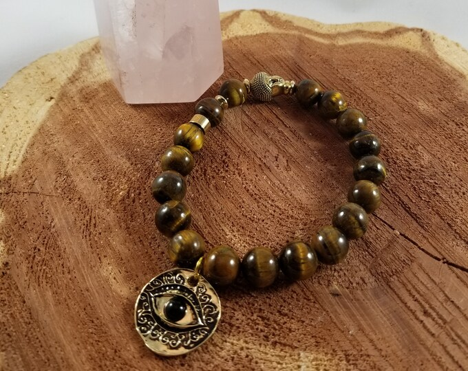 Featured listing image: Tiger's Eye Mala Bracelet w/ Gold tone Buddha Head, Gold tone Evil Eye Charm and Gold tone accent beads! ~Witch, Mystic, Boho