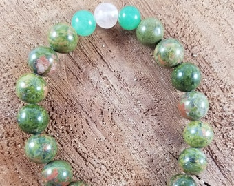 Unakite Jasper, Green Aventurine and Rose Quartz Mala Bracelet! ~Boho, Mystic, Witch
