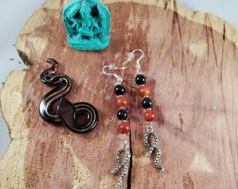 Kali Maa: Black Jasper, Red Coral Earrings and Serpent Charm w/ petite Silver Spacers! ~Witch, Mystic, Kundalini, OM, Shakti