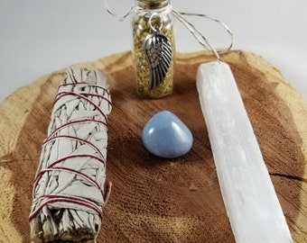 Archangel Cleansing Kit: Selenite Wand, Angelite, White Sage Bundle, Altar Vial w/ Angel Wing Charm! ~ Witch, Mystic, Ritual