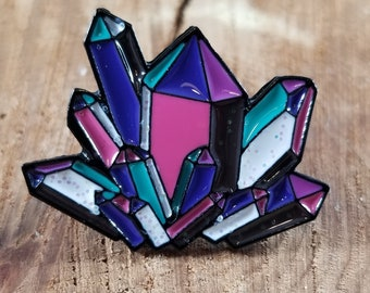 Multi-color Glitter Crystalline Gemstone Enamel Pin! ~Mystic, Witch, Magick, Crystals