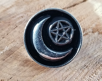 Crescent Moon & Pentacle Enamel Pin! ~Witch, Mystic, Magick
