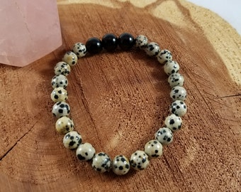 Dalmation Jasper and Black Tourmaline Mala Bracelet! ~Witch, Boho, Mystic