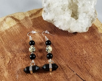 Black Onyx Double Terminated Points, Black Jasper & Dalmation Jasper Earrings w/ Sterling Silver Earhooks! ~Witch, Boho, Mystic