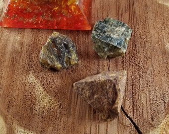 Past Life Crystal Set: Baltic Amber, Black Moonstone, Calligraphy Stone (Mariam Stone Jasper/Elephant Skin Jasper)!~ Witch, Mystic, Fossil