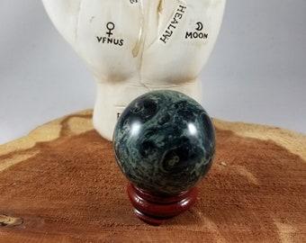 40 mm Kambaba Jasper Yoni/Altar Sphere w/ Stand! ~Yogi, Meditation, Witch, Mystic, Sacred Sex