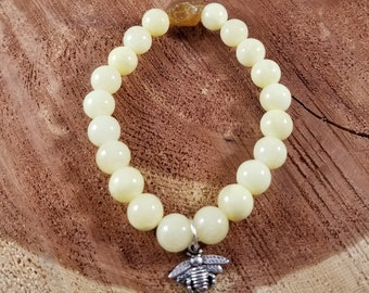 The Queen Bee Mala: Yellow Jasper & Citrine w/ Silver Plated Bee Charm! ~Witch, Boho, Mystic