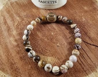 Zebra Jasper Mala Bracelet w/ Wood Guru Bead! ~Witch, , Mystic