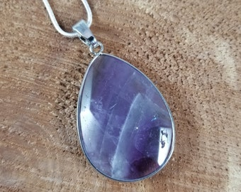 Rainbow Fluorite Pendant w/ 24 inch Stamped .923 Silver Chain! ~Witch, Mystic, Boho
