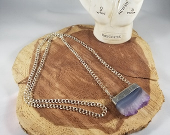 Amethyst Slab Pendant w/ 36 inch Silver Plated, Nickel Free, Clasp Free Chain! ~Witch, Mystic, Boho