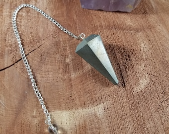 Pyrite Pendulum w/ Clear Quartz Bead! ~Witch, Mystic, Divination