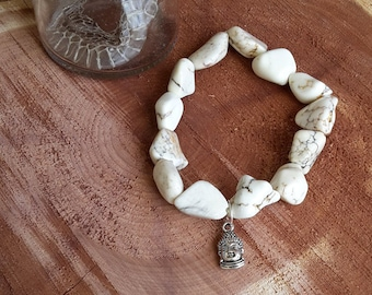 Howlite Nugget Mala Bracelet with Buddha Head Charm! ~Boho, Witch, Mystic, Jewelry