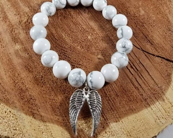 Howlite Mala Bracelet w/ Silver Plated Angel Wings Charm! ~Witch, Boho, Mystic