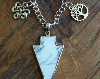 Howlite Arrow Talisman Necklace w/ Celtic Knot and Tree of Life! ~, Witch, Mystic, Jewelry