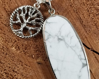 Howlite Pendant w/ Silver Plated Tree of Life Charm and 24 inch .923 Silver Chain! ~Witch, Mystic, , Pagan