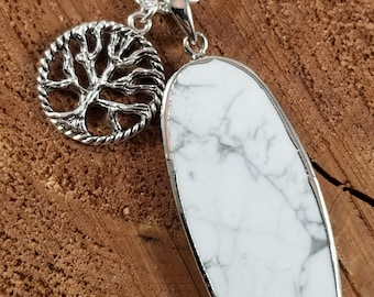 Howlite Pendant w/ Silver Plated Tree of Life Charm and 24 inch .923 Silver Chain! ~Witch, Mystic, Boho, Pagan