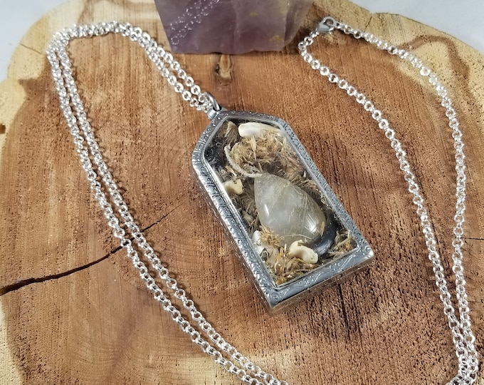 Featured listing image: Coyote Spirit Amulet: Arnica Flowers, Coyote Teeth, Coyote Claws, Golden Rutilated Quartz! ~Witch, Mystic, Magick