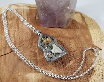 Sea Witch Amulet: Emeralds, Herkimer Diamonds, Ethiopian Opal & Irish Moss! ~Witch, Mystic, Magic