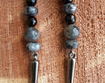 Larvikite, Black Onyx, and Gunmetal Silver Spike Earrings w/ Gunmetal Silver, Nickel Free Ear Hooks! ~Boho, Witch, Mystic, Jewelry