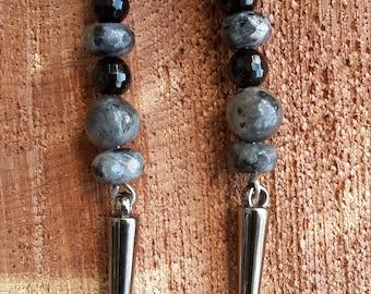 Larvikite, Black Onyx, and Gunmetal Silver Spike Earrings w/ Gunmetal Silver, Nickel Free Ear Hooks! ~, Witch, Mystic, Jewelry