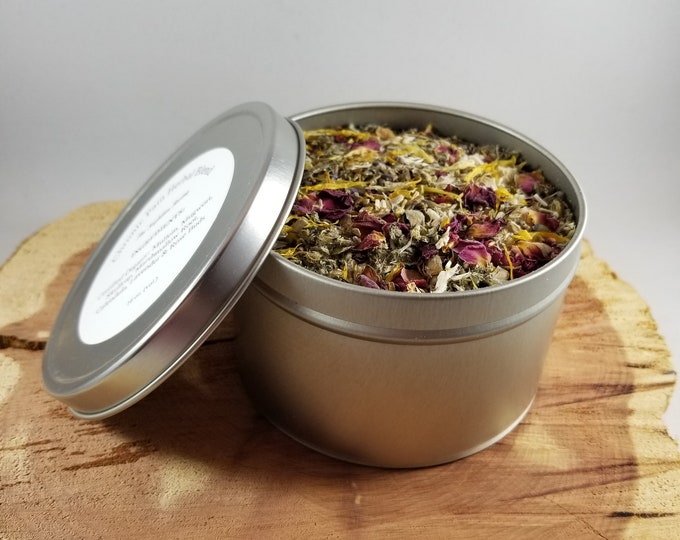 Featured listing image: Chronic Pain Herbal Blend (16 oz. Tin): Mullein, Skullcap, Lavender, Calendula, Marshmallow Root, Mugwort, Rose Bud