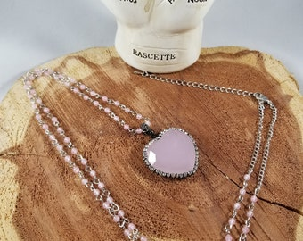 Rose Quartz Heart Pendant w/ Cubic Zirconia & Marcasite and 36 inch Rose Quartz Silver Tone Beaded Chain! Witch, Boho, Mystic
