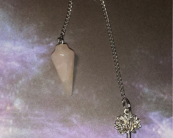 Rose Quartz Pendulum w/ (optional) Tree of Life Charm! ~, Witch, Mystic, Divination