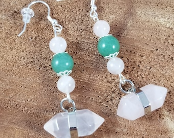 Rose Quartz & Green Aventurine Sterling Silver Ear Hooks, Generator Point Earrings! ~Boho, Witch, Mystic, Jewelry