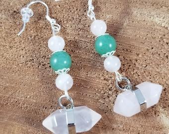 Rose Quartz & Green Aventurine Sterling Silver Ear Hooks, Generator Point Earrings! ~Boho, Witch, Mystic, Jewelry