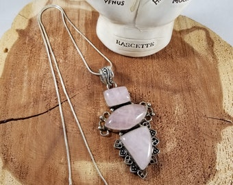 Rose Quartz Sterling Silver Necklace w/ 24 inch Stamped 923 Silver Chain! ~Mystic, Witch, Reiki, Gemstones