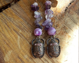 Brass Toned, Amethyst Earrings w/ Scarab Charm! ~Boho, Witch, Mystic, Jewelry