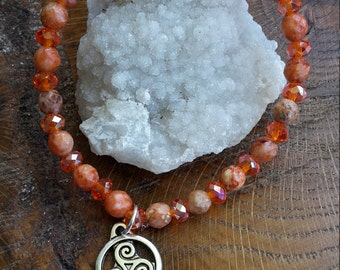 Sun Power Mala: Orange Jasper, Orange Genuine Swarovski Crystal, Fire Agate Guru Bead w/ Triskele Charm! ~Boho, Witch, Mystic, Jewelry