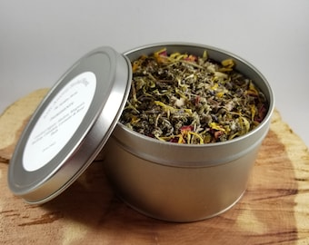 Anti-Anxiety Herbal Blend (16 oz. Tin): Certified Organic Mullein, Skullcap, Mugwort, Calendula, Rose Petals, Lavender