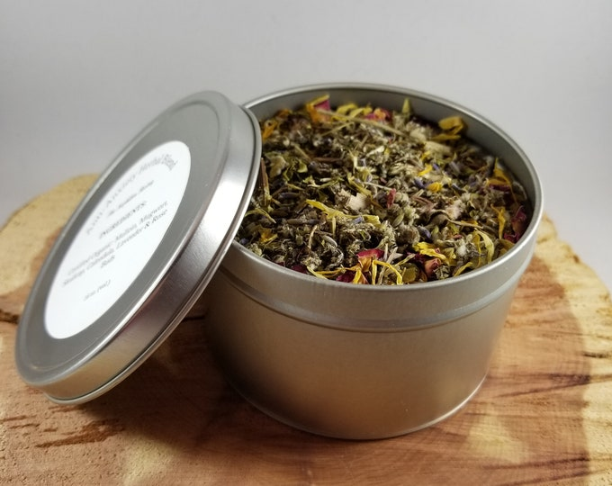 Featured listing image: Anti-Anxiety Herbal Blend (16 oz. Tin): Certified Organic Mullein, Skullcap, Mugwort, Calendula, Rose Petals, Lavender
