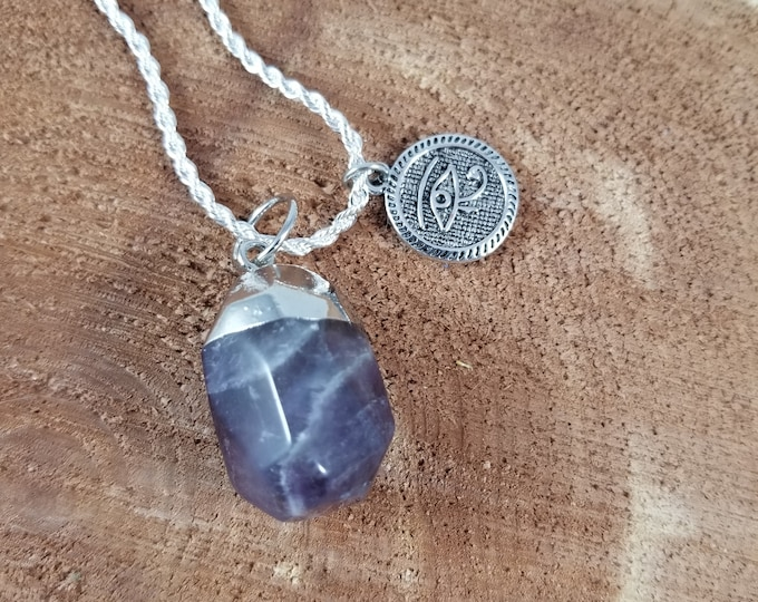 Featured listing image: Amethyst Pendant w/ Eye of Horus double sided coin Charm w/ 24 inch Stamped .923 Silver Chain! ~Witch, Mystic