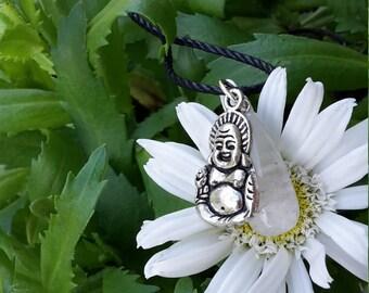 Teardrop, Clear Quartz Pendant w/ Laughing Buddha Charm! ~Boho, Witch, Mystic, Jewelry