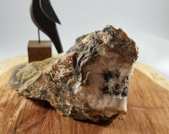 283g Rough Banded Montana Agate with Smoky Quartz Druzy Pocket! ~Witch, Magick, Mystic