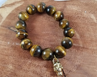 Tigers Eye Statement Mala w/ Gold Skull Charm! ~Witch, Mystic, Boho
