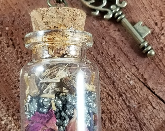 Featured listing image: Hekate's Road Opener Vial w/ Skeleton Key Charm!  ~Boho, Witch, Mystic, Jewelry