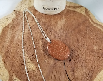 Sterling Silver Red Goldstone Necklace w/ Cubic Zirconia Bail! ~Witch, Mystic, Reiki