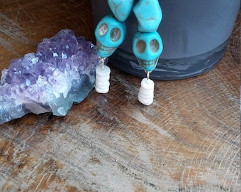 Turquoise Dyed Howlite and Puka Shell, Sterling Silver Earrings! ~, Witch, Mystic, Jewelry