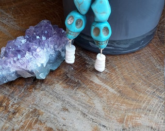 Turquoise Dyed Howlite and Puka Shell, Sterling Silver Earrings! ~Boho, Witch, Mystic, Jewelry