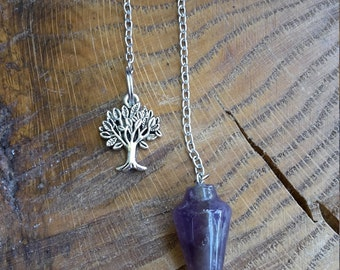 Amethyst Pendulum w/ Tree of Life (Optional) Charm! ~~Boho, Witch, Mystic, Divination