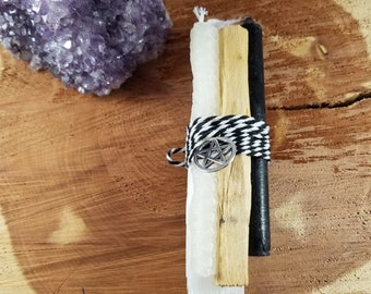 Cleanse and Protect Bundle w/ Pentacle Charm! Selenite Wand, Palo Santo, White Beeswax Chime Candle, Black Chime Candle
